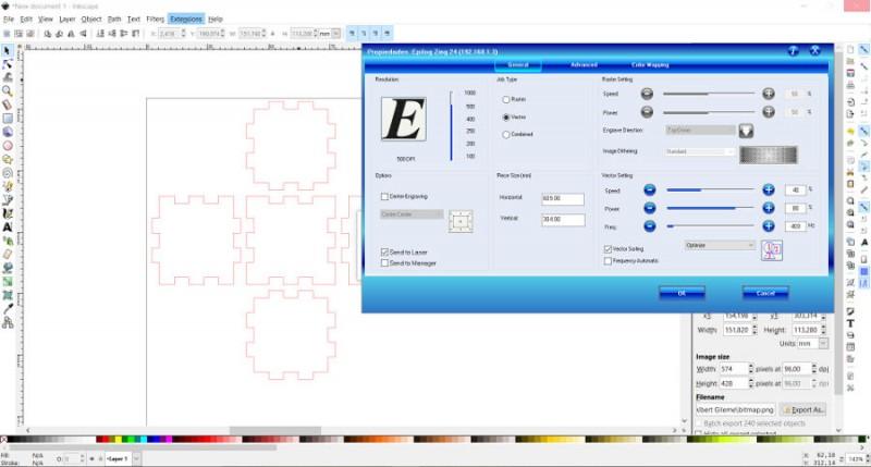 Configurar parámetros epilog laser