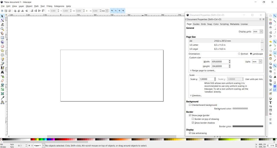 Configurar tamaño página Inkscape