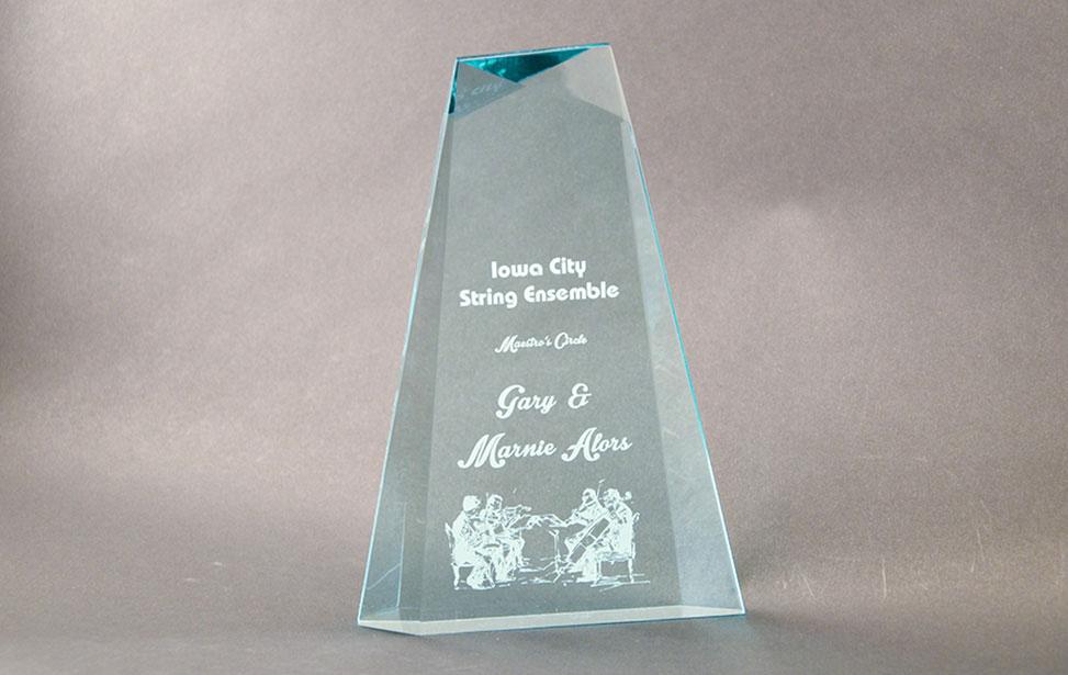 Trofeo de cristal grabado con laser