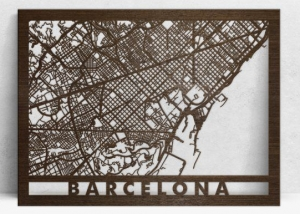 Mapa de madera cortado con láser