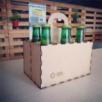 Caja madera con asa para cerveza