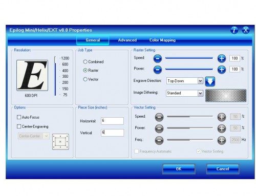 Driver de impresión Dashboard™ de Epilog Laser